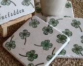 Personalized Shamrock Tile Coasters - Irish Home Decor - Set of 4