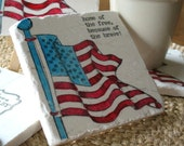 Home of the Brave USA Flag Tile Coasters - Absorbent Drink Coasters - Set of 4