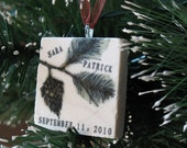 Pine Bough Personalized Ornament - Nature Christmas Tree Decoration - Gift Box