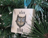 Personalized Baby Boy Ornament - Owl Christmas Decoration - Gift Box