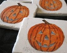 Jack O'Lantern Halloween Coasters, Set of 4