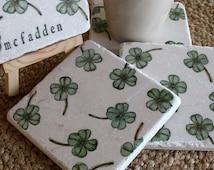 Personalized Shamrock Tile Coasters Irish Home Decor