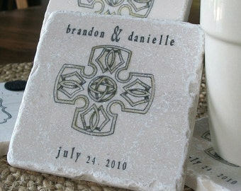 Celtic Cross Wedding Favor Coasters - Religious Party Favors - Personalized Wedding Keepsakes - Set of 25