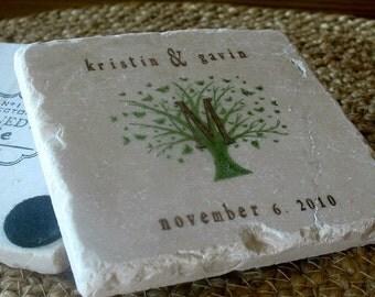 Monogram Wedding Favor Coasters - Butterfly Tree Design - Set of 25