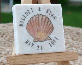 Personalized Wedding Favor Magnets - Coral Seashell Save the Date Magnets - Set of 25