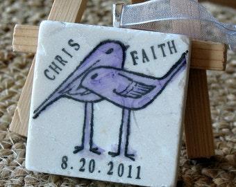 Love Bird Ornament Wedding Favors - Personalized Lavender Wedding Keepsakes - Set of 25
