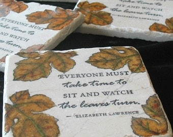 Autumn Leaves Absorbent Tile Coasters - Fall Home Decor -  Set of 4