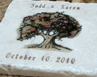 Personalized Fall Tree Wedding Favor Coasters - Autumn Party Decor - Set of 25