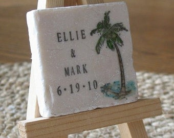 Personalized Palm Tree Wedding Favor Magnets - Tropical Save The Date Magnets -  Set of 15