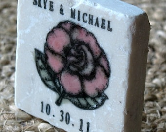 Rose Save the Date Magnets - Personalized Garden Wedding Favors Magnets -  Set of 25