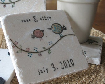 Personalized Coaster Wedding Favors - Tweet His and Her Birdie Coasters - Love Bird Party Keepsakes - Set of 100