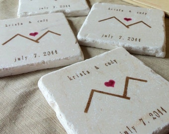 Personalized Mountain Love Wedding Favor Coasters - Set of 25