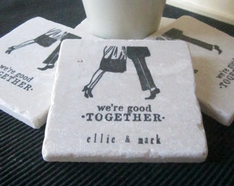 Wedding Day Gift - Personalized Good Together Tile Coasters - Black and White Home Decor - Absorbent Stone Coasters