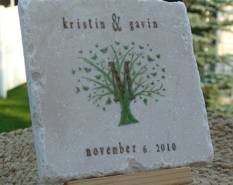 Monogram Tile Coasters - Butterfly Tree Design - Personalized Wedding Gift - Set of 4