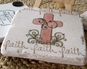 Absorbent Tile Coasters - Painted Faith Rosewood Cross - Religious Home Decor - Easter Housewarming & Hostess Gift