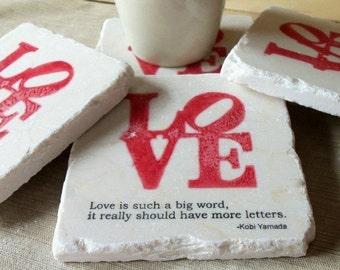 Love Wedding Favor Coasters - Wedding Keepsakes - Set of 25 - Red