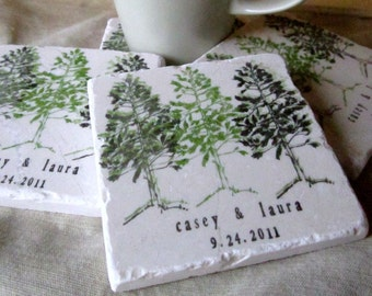Pine Tree Coasters - Personalized Couple Gift - Set of 4