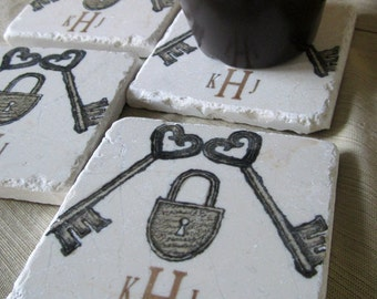 Lock and Key Personalized Tile Coasters - Wedding and Anniversary Gift - Monogram