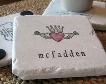 Personalized Claddagh Coasters - St. Patrick's Day Gift - Irish Celtic Housewarming
