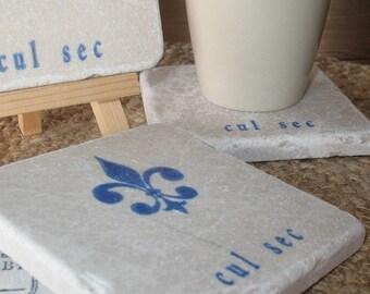 Fleur de Lis Cul Sec Tile Coasters - Stone Drink Holder - Royal Blue Design