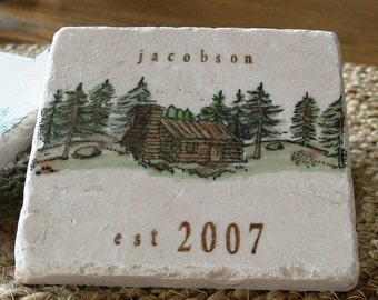 Personalized Northwoods Log Cabin Coasters - Rustic Home Decor - Set of 4