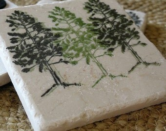 Handmade Pine Tree Tile Coasters - Northwoods Cabin Decor - Set of 4