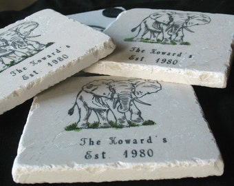 Personalized Elephant Tile Coasters - Absorbent Drink Coasters - Office Drink Holders