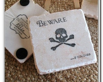 Beware if You Dare Black Skull and Crossbone Absorbent Tile Coasters, Set of 4