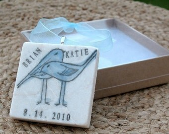 Personalized Love Bird Custom Ornament - For the Couple Engagement Gift - Anniversary Keepsake