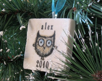Personalized Baby Boy Ornament - Owl Christmas Decoration - Custom Keepsake with Gift Box
