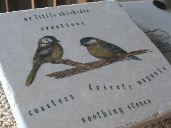 Painted Chickadees Kitchen Tile Trivet, Personalization Available