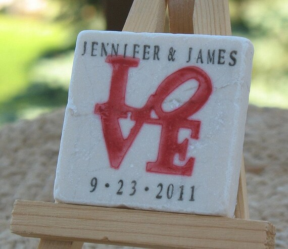 Personalized Love Statue Wedding Favors - Save the Date Magnets, Set of 100