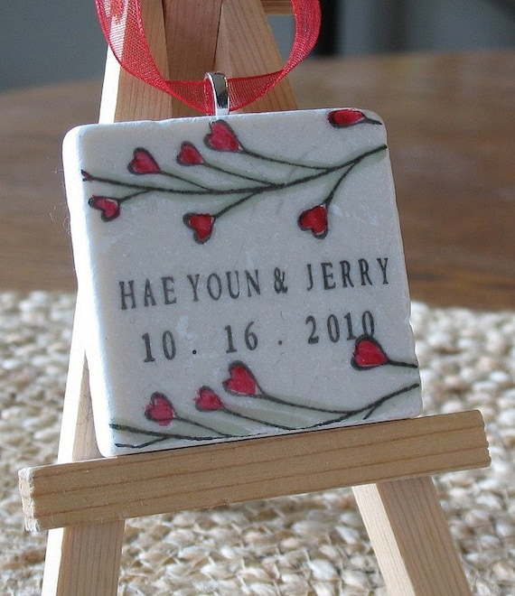 Personalized Red Heart Vine Ornament Wedding Favors - Set of 25