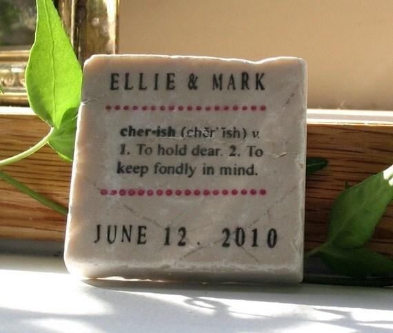 Save the Date Tile Magnet - Cherish Wedding Favor Magnet - Set of 25 - Keepsake Party Favor