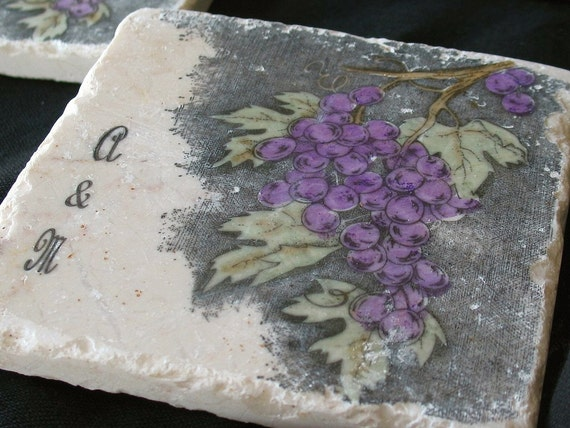 Personalized Napa Valley Wedding Favor Coasters - Grapes Decor - Set of 25