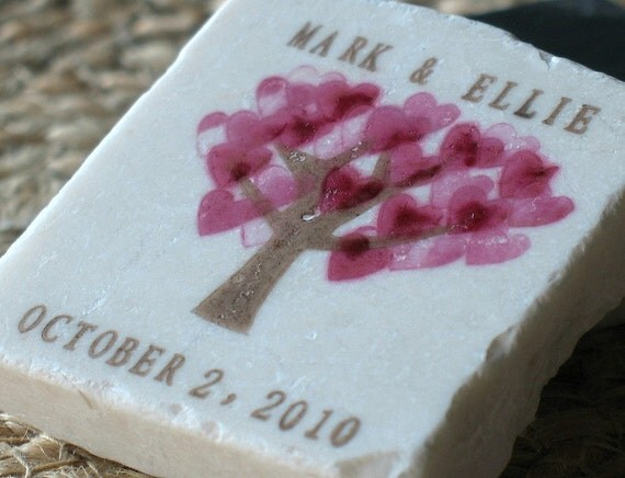 Pink Heart Tree Save the Date Magnets - Personalized Wedding Favors - Custom Anniversary Party Keepsake - Valentine's Day