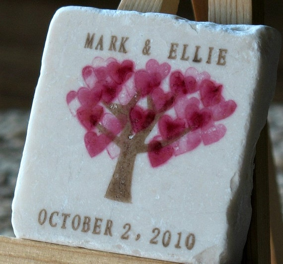 Magenta Heart Tree Save the Date Magnets, Wedding Favors,  Set of 15