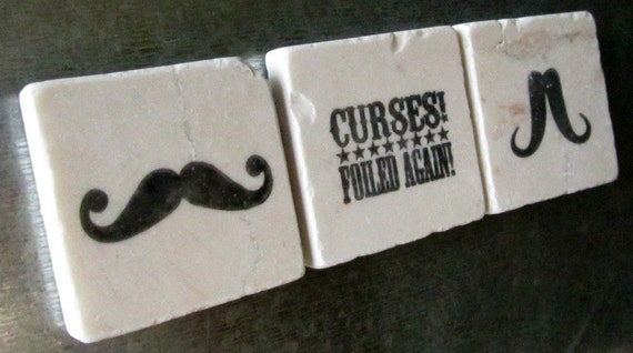 Mustache Tile Magnets, Set of 3, Ready to Ship
