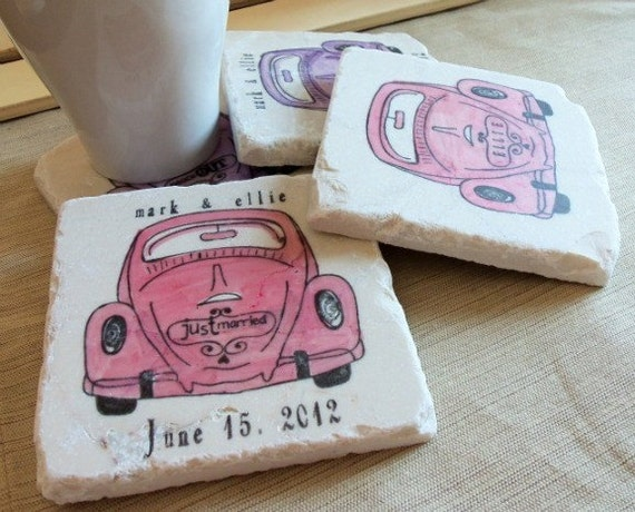 Personalized Love Bug Tile Coasters - Hippie Home Decor - Set of 4