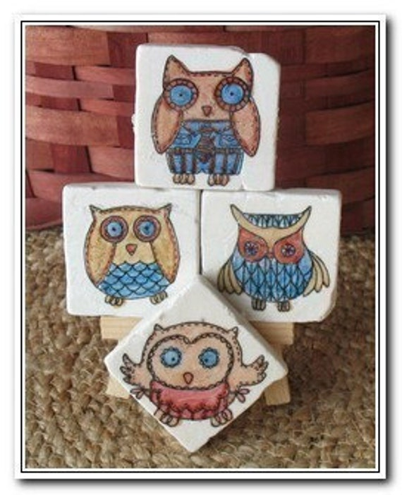 Whimsical Woodland Owl Magnets - Rustic Home Decor - Set of 4