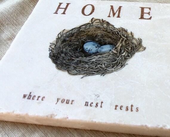 Robin's Egg Nest Kitchen Tile Trivet