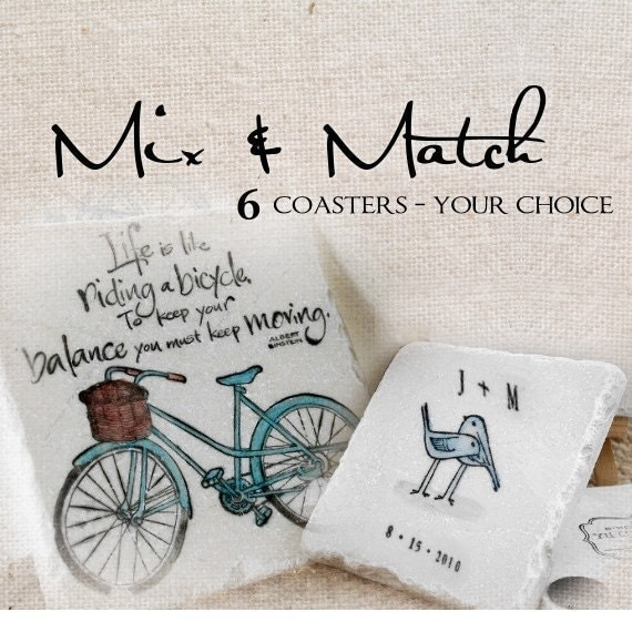 Mix and Match 6 Painted Tile Coasters of Your Choice, Great Hostess Gift