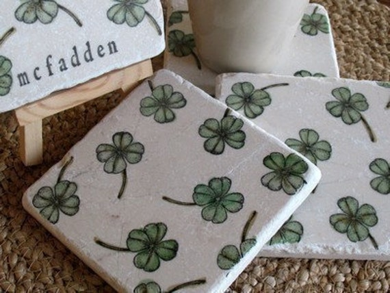 Personalized Shamrock Tile Coasters - Irish Home Decor - St. Patrick's Day Gift - Housewarming