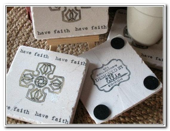 Celtic Cross Tile Coasters, Set of 4, Ready to Ship