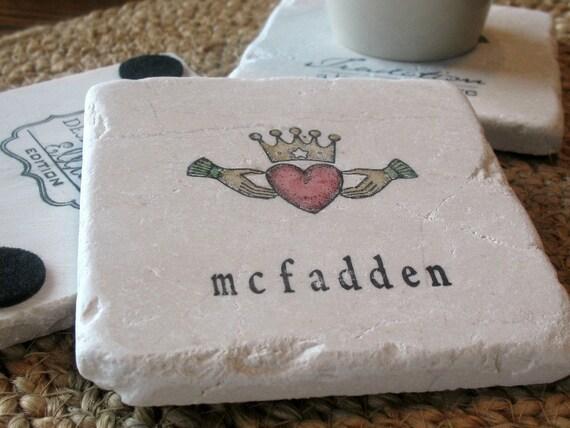 Personalized Claddagh Coasters - St. Patrick's Day Gift - Irish Celtic Housewarming
