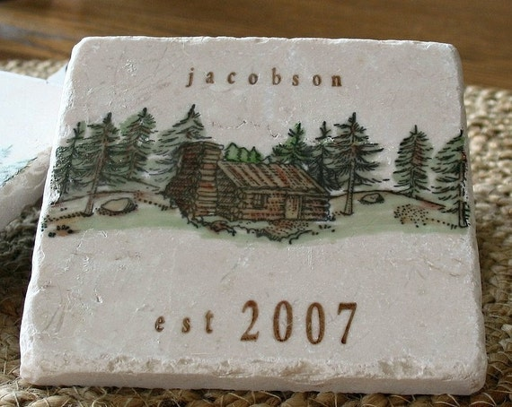 Personalized Northwoods Log Cabin Coasters By Mylittlechick