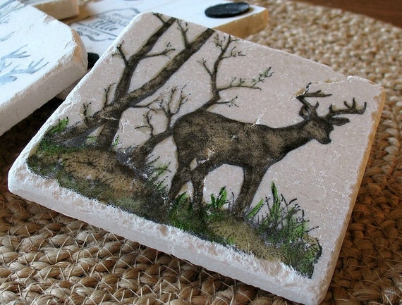 Deer Drink Coasters - Absorbent Coasters - Rustic Cabin Decor - Gift for Him - Set of 4