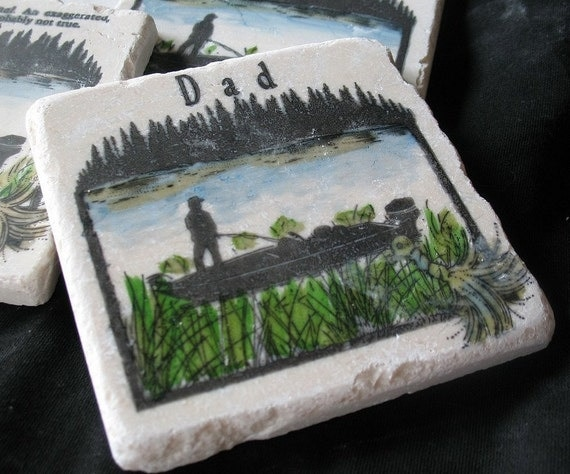Personalized Fisherman Tile Coasters - For Him - Man Cave Home Decor - Set of 4