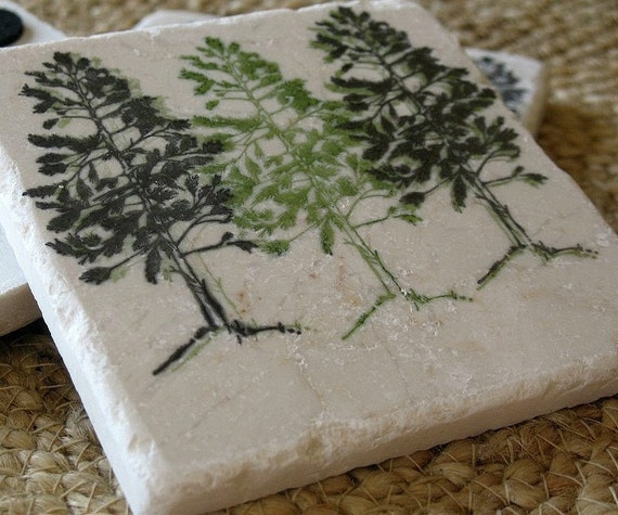 Handmade Pine Tree Tile Coasters - Northwoods Cabin Decor - Set of 4