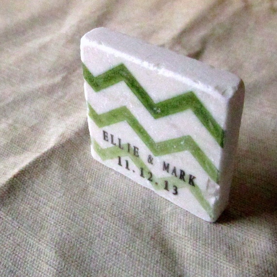 Green Chevron Save the Date Magnets, Wedding Favors, Ombre, Set of 25